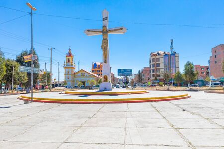 La Paz Bolivia August 26, panoramic view of the square of the cross in the morning where the traffic flows intensely. Shoot on August 26, 2019