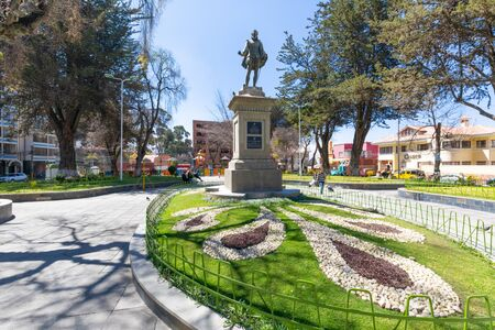La Paz Bolivia August 26, some people walk in the morning in the park of Spain square  Shoot on August 26, 2019 Redakční