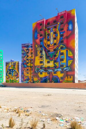 La Paz Bolivia August 26, buildings decorated with abstract images in the Whipala district Northen La Paz. Shoot on August 26, 2019