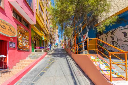 La Paz Bolivia August 27, street life in Tarjia street in the center of bogota visited for its colorful buildings. Shoot on August 27, 2019