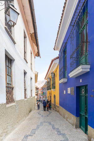 La Paz Bolivia August 26, in this alley people visit the Jaen museums. Shoot on August 26, 2019