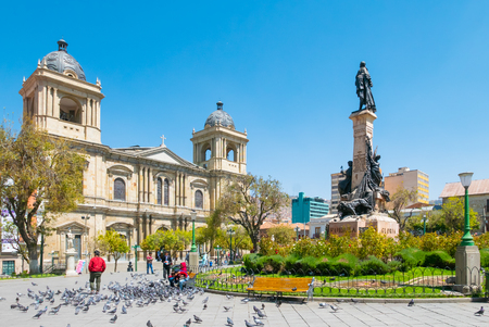 La Paz Bolivia August 26, in  Murillo square some people admire the cathedral while they are relaxing. Shoot on August 26, 2019 Redakční