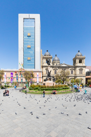 La Paz Bolivia August 26, pigeons in Murillo square in the historic center on a sunny day Shoot on August 26, 2019 Redakční