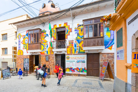 La Paz Bolivia August 26, some people are visiting  the Mamani art gallery. Shoot on August 26, 2019