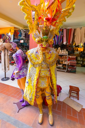 La Paz Bolivia August 26, costume used during the February carnival in La Paz. Shoot on August 26, 2019