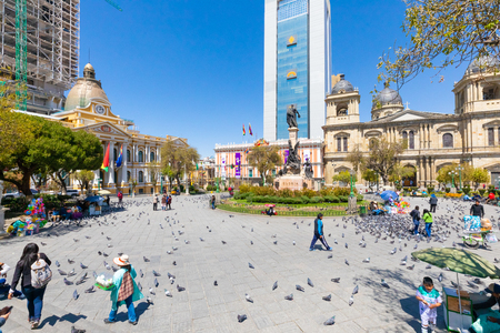 La Paz Bolivia August 26, people relaxing in Murillo square in the historic center. Shoot on August 26, 2019