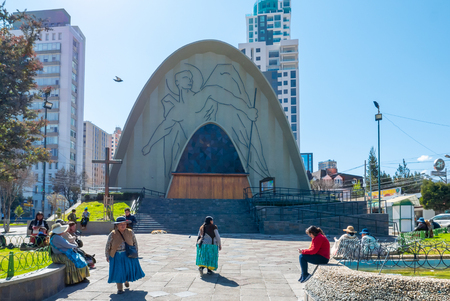 La Paz Bolivia August 26, some people relax in the gardens of the church of San Miguel in the morning. Shoot on August 26, 2019 Redakční