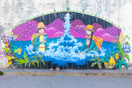 Bolivia Desaguadero mural  representing Bolivian women in Titicaca Lake celebrate water
