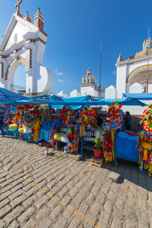 Copacabana Peru August 19 Panorama view of 2nd February and its colored market set up every day in the morning. Shoot on August 19, 2019