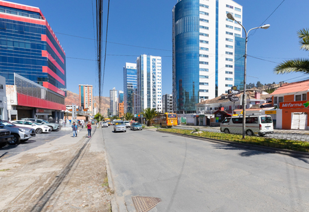 La Paz Bolivia August 26, morning traffic in the Calacoto district. Shoot on August 26, 2019
