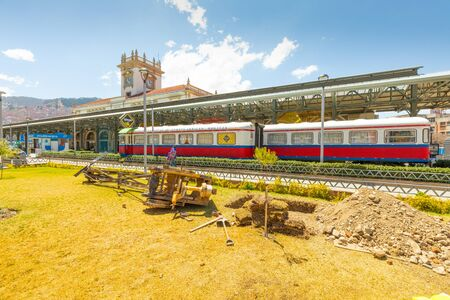 La Paz Bolivia September 9 old passenger carriages parked at the central station now converted into a restaurant. Shoot on September 2019