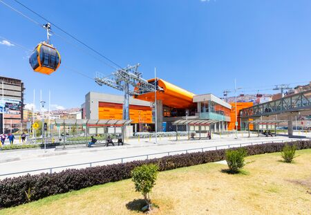 La Paz Bolivia September 9 some people relax at the cable car station that connects the orange line with the red line. Shoot on September 2019 Reklamní fotografie