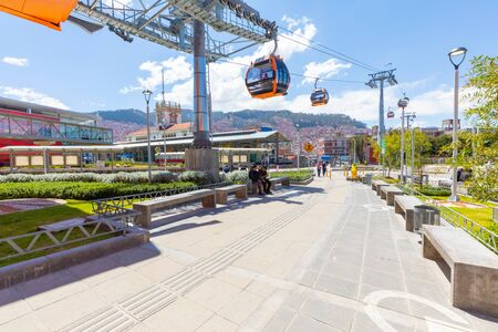 La Paz Bolivia September 9 the orange line of the cable car allows easy access to the central station. Shoot on September 2019