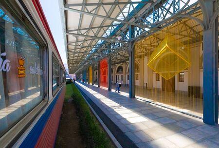 La Paz Bolivia September 9 artistic decorations at the central station. Shoot on September 2019