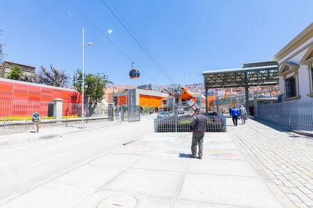 La Paz Bolivia September 9 pedestrian area at the entrance to the cable car. Some people reach the station in the morning. Shoot on September 2019 Reklamní fotografie