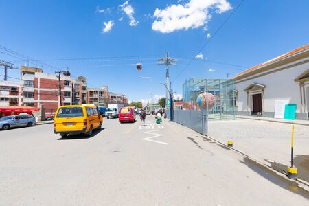 La Paz Bolivia September 9 traffic and pedestrians in Peru Avenue in the morning. Shoot on September 2019 Reklamní fotografie
