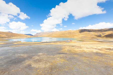 Bolivia lake of Cumbre Bolivian Andes with sun Reklamní fotografie
