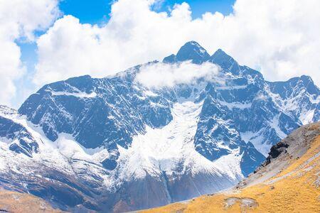 Bolivia  white Cordillera Q ulini mountain in a sunny day