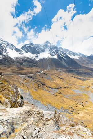 Bolivia national road three in the valley of the white royal cordillera in a sunny day