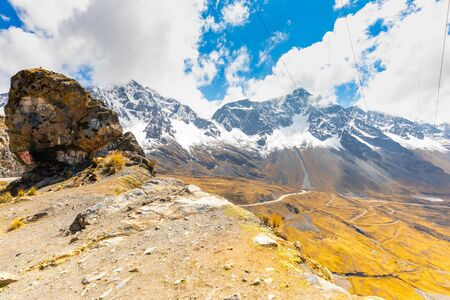 Bolivia panoramic view of white royal cordillera in a sunny day Reklamní fotografie