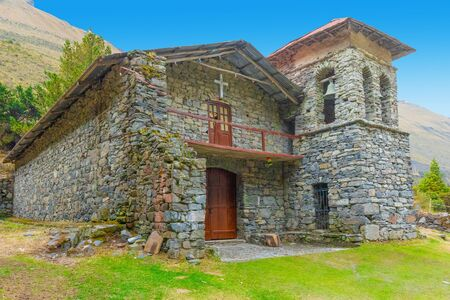 Bolivia ancient stone church in the Andes with sun Reklamní fotografie