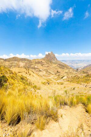 Bolivia La Paz  devil s tooth mountain with sun