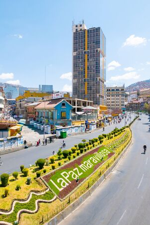 La Paz Bolivia September 1 This sign located in the historic center of the city, welcomes people visiting the biggest city of Bolivia.  Shoot on September 1, 2019