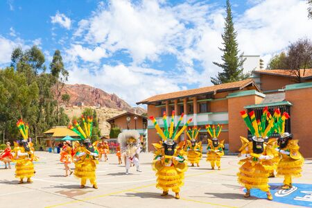 La Paz Bolivia September 7 Tied to their traditions, the Bolivians celebrate life by wearing typical clothes during folk dances. Shoot on September 7, 2019