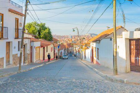 Sucre Bolivia 2 de septiembre El distrito de Recoleta con sus edificios coloniales es la parte más antigua de la ciudad. Disparar el 24 de septiembre de 2019 Foto de archivo
