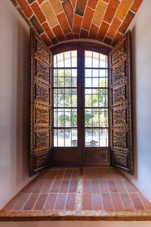 Sucre Bolivia September 24 Window in the Liberty House of Sucre. In the same house was signed the independence act from Peru. Shoot on September 24, 2019