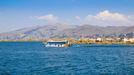 Lake Titicaca, Peru, August 16th. tourist boat for boat trips to visit the highest lake in the world. Shoot on  August 16, 2019 Reklamní fotografie