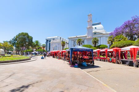 Sucre Bolivia September 28, Simon Bolivar Square is the place where markets, fairs, and shows are organized every day. Shoot on September 28, 2019