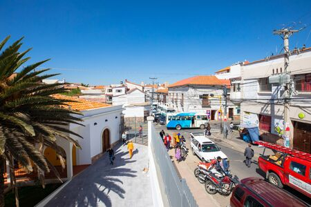 Sucre Bolivia October 8, Daily activities in Camargo avenue located in the historic center of the city. This avenue is known for its proximity to the bus terminal. Shoot on October 8, 2019