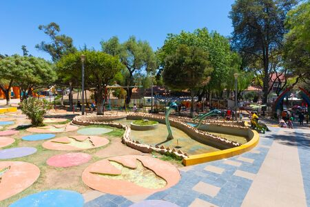 Sucre Bolivia September 28 Theme park named Bolivar Square reminds that in this city thousands of original dinosaur footprints have been found. Shoot on September 28, 2019