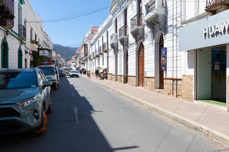 Sucre Bolivia October 9 Arenal street in the historic center of Sucre houses restaurants, shops, offices and many other activities. Shoot on October 9, 2019 Stock Photo