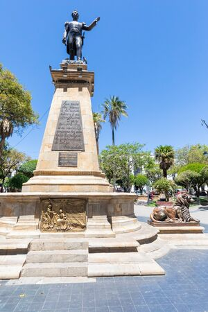 Sucre Bolivia October 9 this statue, located in the historic center, represents a Antonio Jose who fought for the independence of Bolivia from Peru. Shoot on October 9, 2019