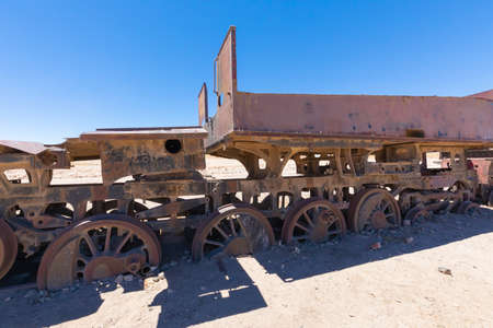 Uyuni Bolivia October 22 this old train is part of the cemetery train collection in Uyuni, has been used in 1800 to transport minerals between Bolivia and Chile.