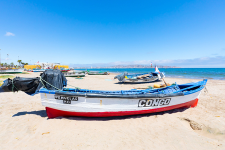 Coquimbo Chile November 12 fishermen s cove in one of the touristic areas of the city overlooking the Pacific Ocean. Shoot on November 12, 2019