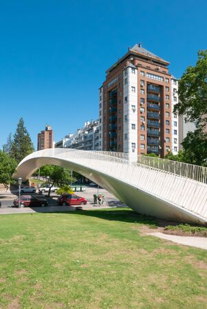 Cordoba Argentina January 4, Tejas a pedestrian bridge that connects the city to the campus of the National University of Cordoba sited in the South of the city. Shoot on January 4, 2020