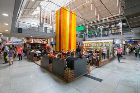 Cordoba Argentina January 31 coffee area in the covered market of Northern Cordoba. Shoot on January 31, 2020