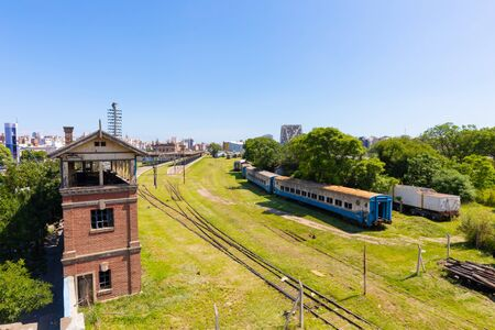 Cordoba Argentina January 24 old wagon and rails abandoned in Northern Cordoba and replaced by long-distance buses. Shoot on January 24, 2020 Banco de Imagens