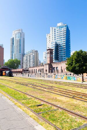 Rosario Argentina February 4 old train station and modern architecture in the historic center of the city. Shoot on February 4, 2020 Banco de Imagens
