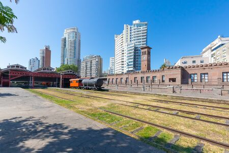 Rosario Argentina February 4 old train station and modern architecture in the historic center of the city. Shoot on February 4, 2020 Stock Photo