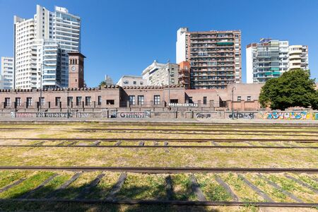 Rosario Argentina February 4 old train station and modern architecture in the historic center of the city. Shoot on February 4, 2020 写真素材