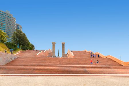 Rosario Argentina February 9 stairs of Spain Park on Parana an area dedicated to open air activities attracting thousands of people every day. Shoot on February 9, 2020 写真素材