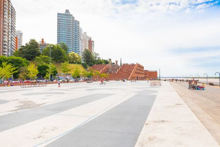 Rosario Argentina February 9 skatepark in Spain Park on Parana river bank. It is an area dedicated to open air activities. Shoot on February 9, 2020 写真素材