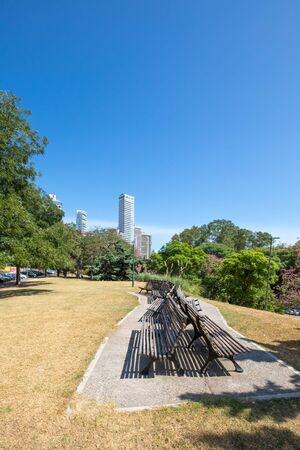 Rosario Argentina 16 Wooden benches in Urquiza Park Northern Rosario one of the many green areas of the city . Shoot on February 16, 2020