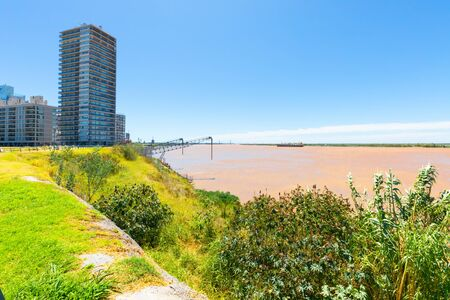 Rosario Argentina February Panoramic view of Northern Rosario district with Parana River, skyscrapers, and loading docks. Shoot on February 16, 2020