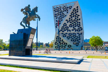 Cordoba Argentina December 17, 2019 :- equestrian monument in Northern Cordoba dedicated to the hero Bautista Busto Argentinian military.