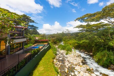 Panama Boquete June 18 these are the pools of a riverside hotel in the province of San Jose. Shoot on June 18, 2020